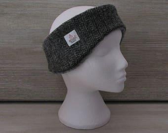 Harris Tweed Grey Herringbone Luxury Ear Warmer Headband