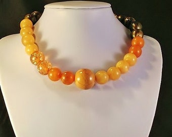 Orange Brown Tan Earth Tone Single Strand Beaded Necklacae for Business and Casual Occasions Free Shipping to USA