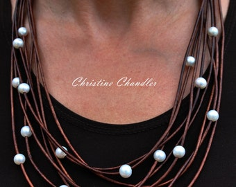 Pearl and Leather Long Necklace - Long Leather and Pearl Strand Necklace - Pearl and Leather Jewelry - Long Leather Pearl Necklace - Leather