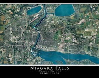 Niagara Falls New York - Ontario Satellite Poster Map