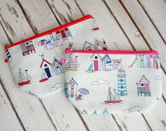 Beach Hut And Sailboat Nautical Lighthouse Bunting Seaside Gift Makeup Cosmetic Toiletry Wash Bag
