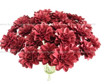 Wedding Paper Flowers, Burgundy, Wine Red Paper Flowers - Stemmed - 50 pcs - Made to Order - For Weddings, Centerpiece, Showers, Decorations