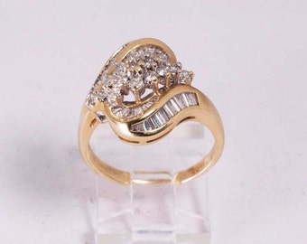 14K Yellow Gold Baguette and Round Cut Diamond Ring, size 7.5