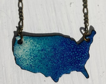 Teal, Cream and Navy Blue Enameled America Necklace