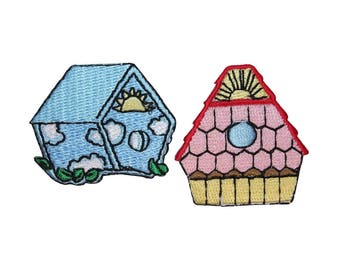ID 3122AB Set of 2 Bird House Patches Nest Home Embroidered Iron On Applique