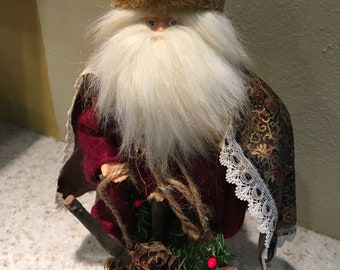 Vintage Old World Santa Claus, Old Saint Nick, Woodland Santa, 12 Inches