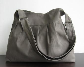 Sale - Grey Canvas All Purpose Pleated Bag - Shoulder bag, Diaper bag, Messenger bag, Tote, Travel bag, Women