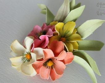 Hawaiian Wildflower clip or headband, plumeria flower cluster