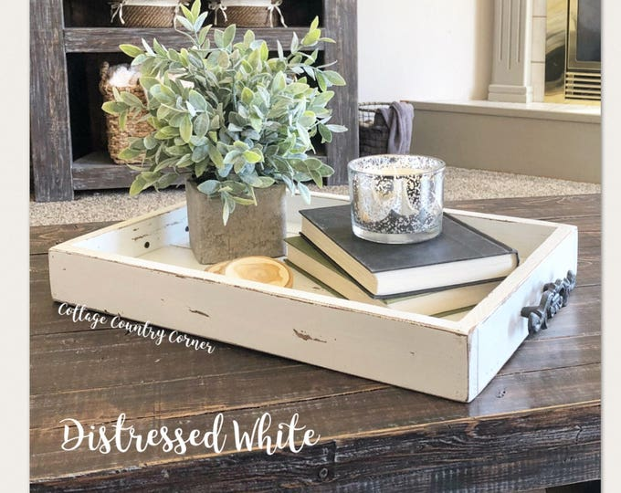 Magazine Tray - Coffee Table Tray - Magazine Tray - Coffee Table Tray - Rustic wooden ottoman tray - decorative tray - coffee table tray