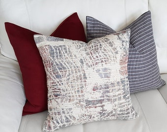 Lodge Pillows, Cabin Pillow, Rustic Throw Pillow, Rustic Pillow, Textured, Cream Blue Pillow, Beige Cushion Cover,  Lumbar, 18x18, 20x20