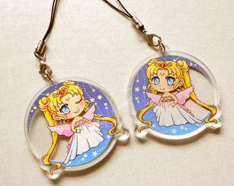 Sailor Moon Keychain, Princess Keychain, Sailor Moon Phone Charm, Kawaii Keyring, Anime Phone Charm, Dust Plug, Anime Keychain,Acrylic Charm
