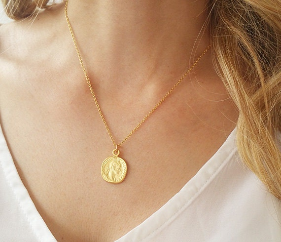 Disc necklace gold coin necklace coin jewelry delicate like this item aloadofball Images