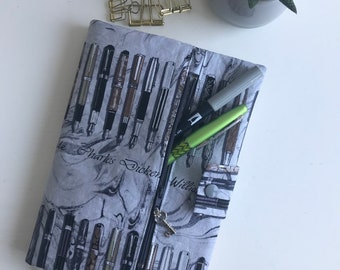 Journal Cover, Book Cover, with Zipper Pouch, Pen Design, Famous Authors, Gift for Her, Birthday Gift, Bullet Journal Supplies