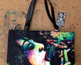 This is What I'm Not Waiting For by Carissa Rose Classic Shoulder Bag | Large Bucket Bag Leather Purse | Colorful Punk Rock Smoking Girl
