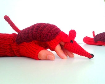 Red animal costume , Soft Wool Mittens,  Armadillo winter glove, Knit glove  , fingerless arm warmers , touch screen glove , gift for child