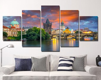 LARGE XL Charles Bridge at Dawn in Prague, Czech Republic Canvas Print Wall Art Print Home Decoration - Framed and Stretched