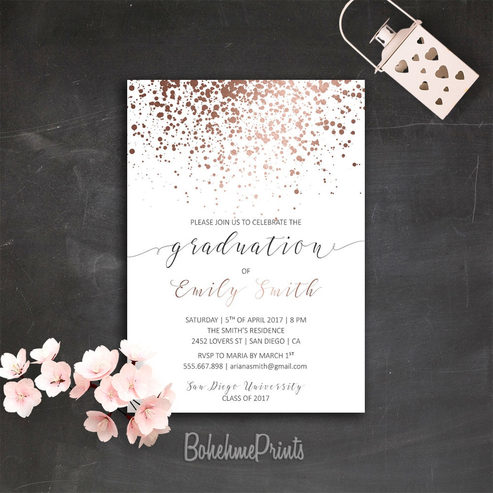 Rose gold graduation party invitation printable college grad request a custom order and have something made just for you filmwisefo Images