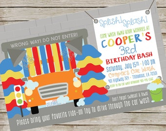 Car wash Party Invitation PIY file ~ Carwash Birthday Party Printable ~ Car swimming party Printable