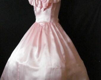 Pink Satin Vintage Gunny Sax Full Prom Party Dress Crinoline Ruffles Bow XS S 5