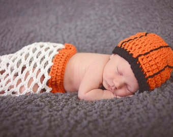 Crochet Basketball Newborn Set/Basketball Cocoon/Photography Prop