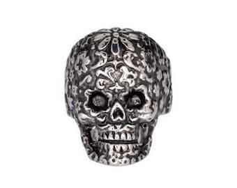 Womens Biker Motorcycle Heavy Metal NEW Stainless Steel Flower Skull Ring Sz 5-9