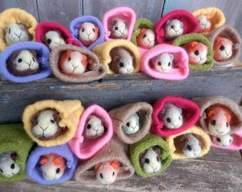 Adorable Mini Guinea Pig Needle Felted Easter Basket Valentines Day Birthday Gift Present Pet Pets Animals