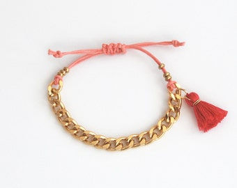Pink friendship bracelet, tassel bracelet with chunky chain, layering bracelet for teens