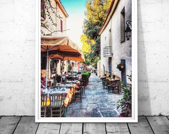 Athens Print, Greece Photography, traditional restaurant wall art, Athens Plaka Street wall decor, Athens HDR, Greece art,  digital download