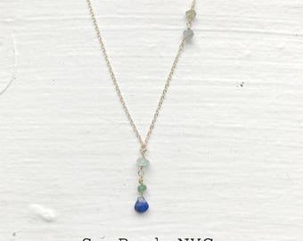 Lapis Aquamarine Lariat Necklace/Dainty Gold-filled Layer Necklace/Gold Necklace/Bridesmaid Necklace/Goldfilled Chain/Goldfilled Necklace/