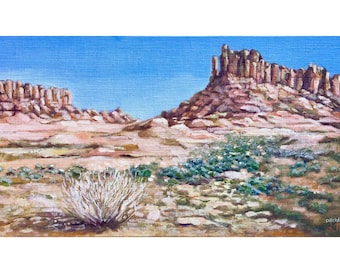 Utah Desert, Sand stone mountain and sage brush, oil painting, wall art, wall decor, original art, canyon lands, Zions, Priest and Nuns