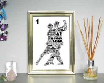 Personalised Word Art Print of Dancing Couples FREE UK P&P. Custom Gift, Digital Word Art picture. Word Cloud Art, Word Collage.