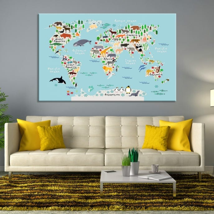 Animal world map for children and kids room decoration world map animal world map framed and ready to hang stretched gallery photo gallery photo gumiabroncs Choice Image