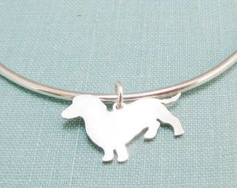 Dachshund Dog Bangle Bracelet, Sterling Silver Personalize Doxie Pendant, Breed Silhouette Charm, Resue Shelter, Mothers Day Gift