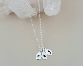 Initial necklace. Hand stamped sterling silver. Charm. Dainty. Layer. Gift. Meaning. Birthday. Kids. Bridesmaid. Custom.