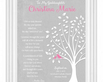 GODDAUGHTER gift personalized - Custom Gift for Goddaughter on Baptism Day - Gift for Communion - 8x10 - Gift from Godmother-other colors