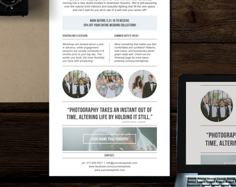 Photography Newsletter Template for Email & Pinterest - Wedding Photographer Marketing Templates - Magazine Style Newsletter
