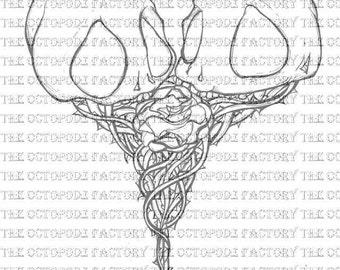 Instant Download Skull Heart digital stamp image