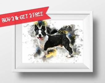 Boston Terrier Watercolor Art Print Dog Poster Dog Lover Poster Watercolor Birthday Gift Idea Dog Wall Art n244