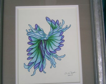 Colored Pencil Drawing Dancing Blue Ballerina Abstract Fantasy Original OOAK Drawing Art Fine Art 14.5 X 17 Framed Blue Purple Green Art