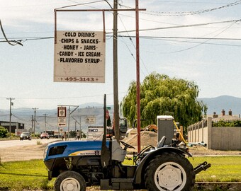 Blue tractor, summer 2017. Osoyoos, BC