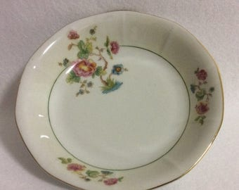 ON SALE Victoria China Czech VIT 177 Coupe Soup Cereal Bowl Ming Tree Pink Floral Multisided Cream Rim Green Ring Gold Trim Excellent Condit