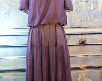 SALE vintage Sue Brett 1980s secretary sheer purple dress 8