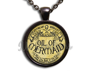 Medicine Oil of Mermaid Potion Glass Dome Pendant or with Chain Link Necklace WD146