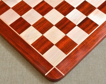 """Wooden Chess Board Blood Red Bud Rose Wood 23"""" - 60 mm from India. SKU: D0139"""