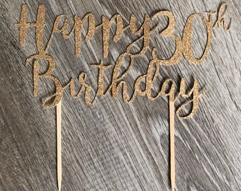 Personalized Happy Birthday Cake Topper in GOLD