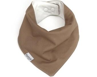 Baby Bandana Bib, dribble bib, baby drool bib, baby scarf bib, toddler scarf bib, toddler drool bib, solid khaki color