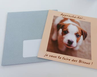 card Doggie approach you, I want to kiss! card square with envelope