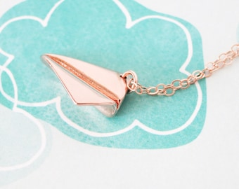 Rose Gold Paper Airplane necklace - simple gold necklace with paper airplane, Childhood, Best friends, sister, cousin