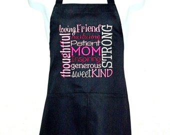 Mom Apron, Mother Apron, Subway Art, Pretty Apron, Mothers Day Gift From Kids, Embroidered, No Shipping Fee, Ready To Ship Today AGFT 783