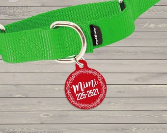 Personalized round pet tag holiday wreath -  sweet Christmas accessory ID tag for pets  DT-005